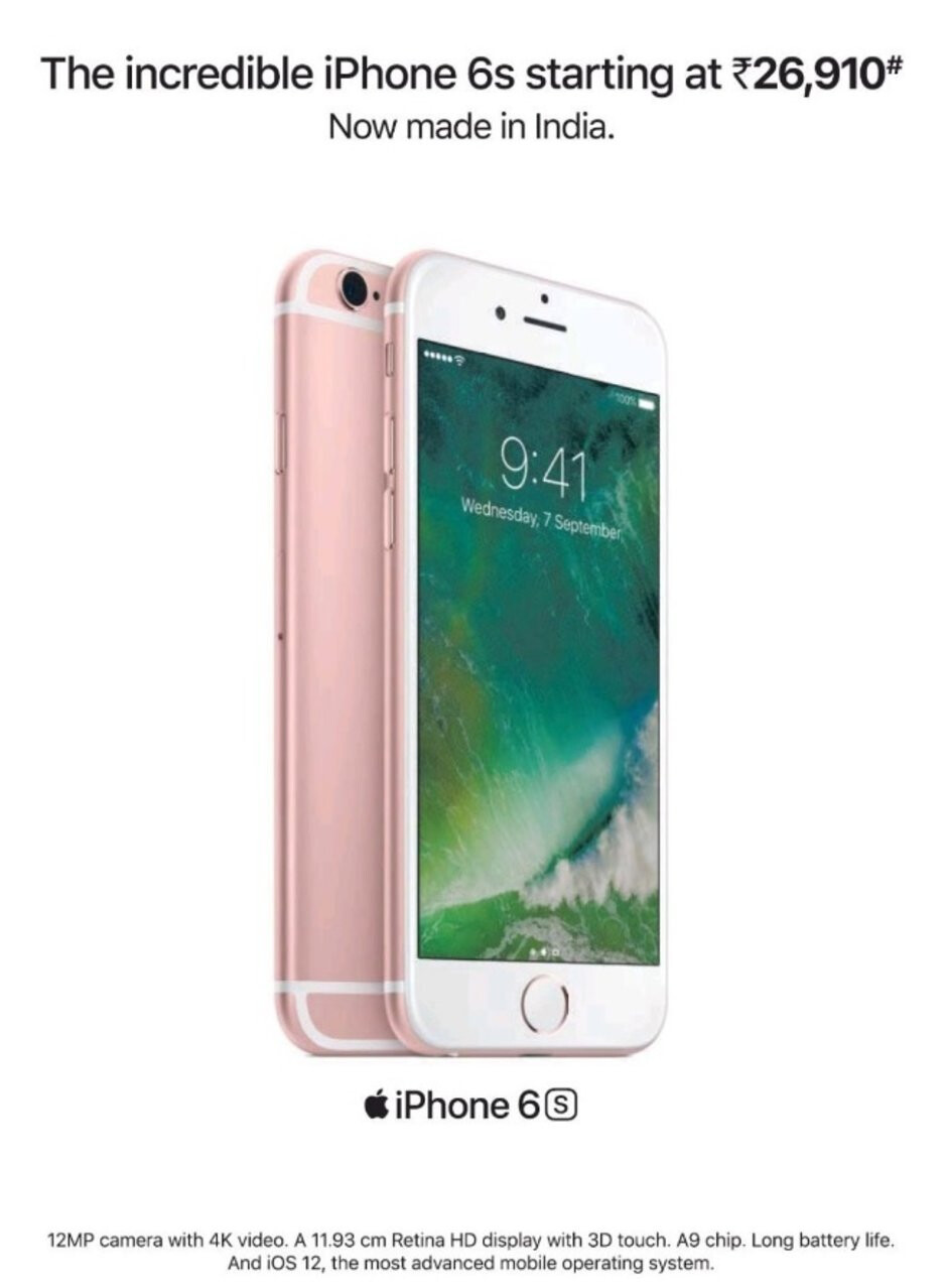 The Apple iPhone 6s is marketed in India for the equivalent of $393.42 USD - Apple reportedly will make and sell its high-end iPhones in India next month