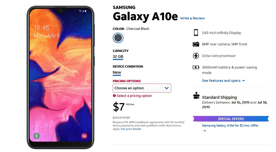 AT&T is now selling the Samsung Galaxy A10e - Samsung Galaxy A10e now available at AT&T; phone is $1 per month with the addition of a new line
