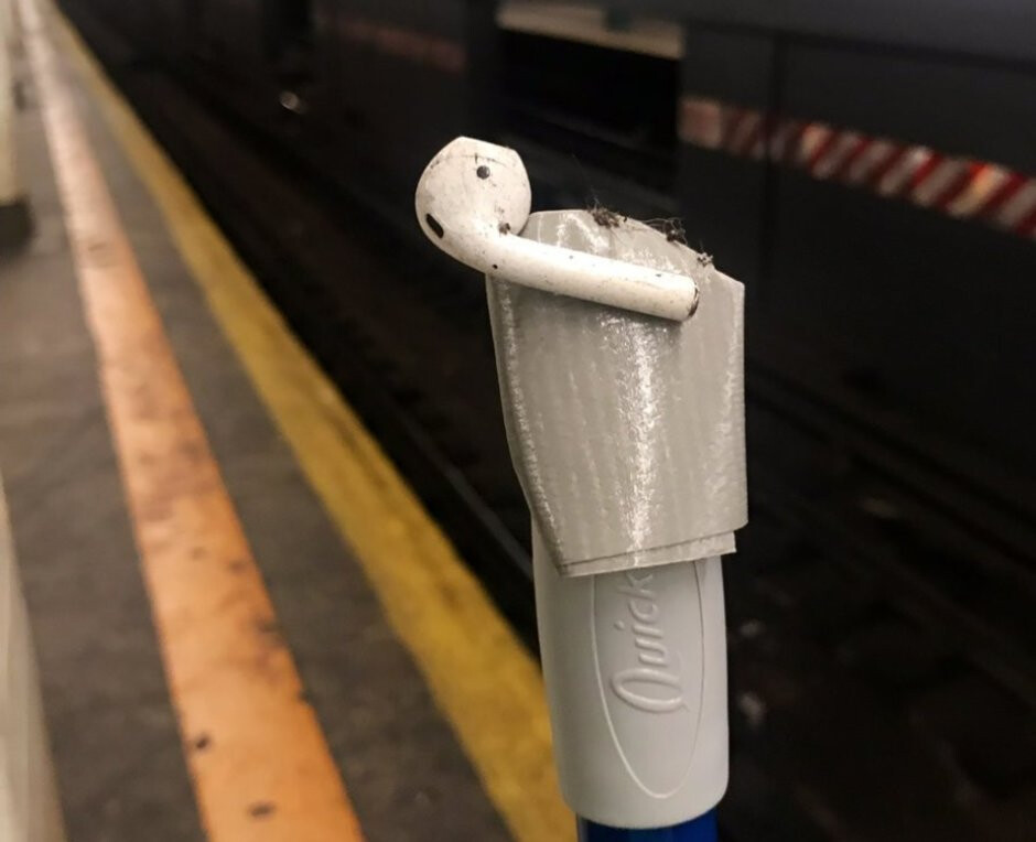 """Using a broom and tape, a MacGyver-like rescue plan pans out perfectly - MacGyver-esque plan allows NYC woman to save an AirPod from """"inevitable"""" destruction"""
