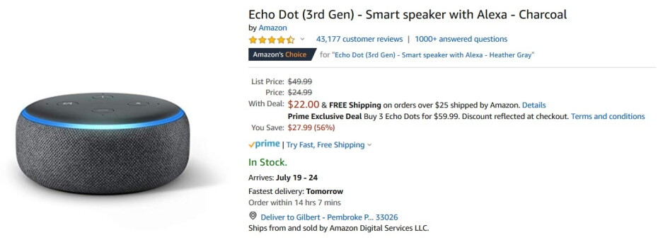 The Amazon Echo Dot is priced at $22, an all time low - Amazon's Echo Dot is priced at an all time low