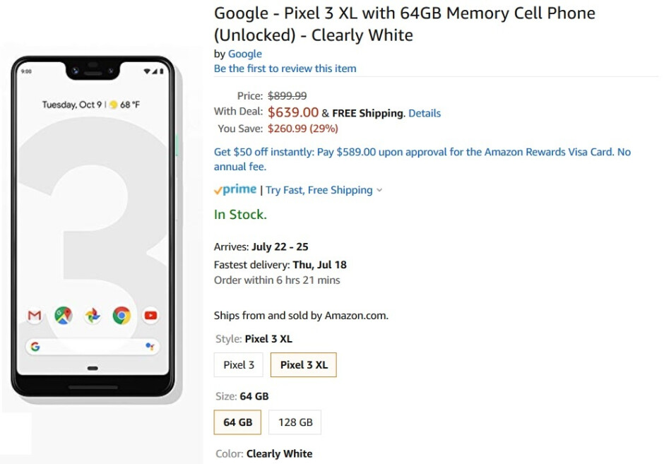 Save $260 on the unlocked 64GB Pixel 3 and Pixel 3 XL in Clearly White at Amazon - Amazon has great deals on the Pixel 3, Pixel 3 XL and the Pixel 3a XL