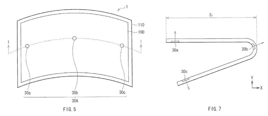 """30a, 30b and 30c are the sensors part of the display""""&nbsp - Sony patents flexible display with built-in sensors"""