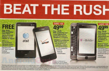 Black Friday will see the HTC Aria (AT&T), HTC Droid Incredible (Verizon) and the T-Mobile G2 each get a haircut on price