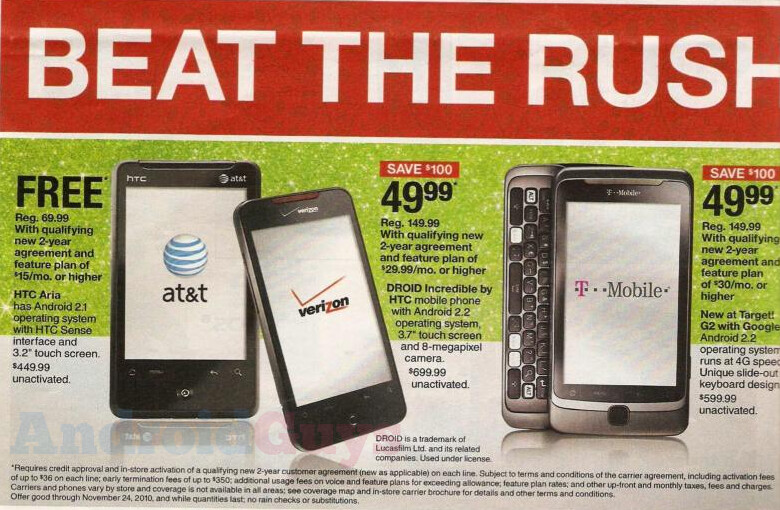 Black Friday will see the HTC Aria (AT&T), HTC Droid Incredible (Verizon) and the T-Mobile G2 each get a haircut on price - Leaked ad from Target shows off savings on three Android handsets for Black Friday