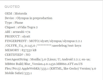 The Motorola Olympus could be heading to AT&T with Android 2.3 and a dual-core Tegra 2 processor