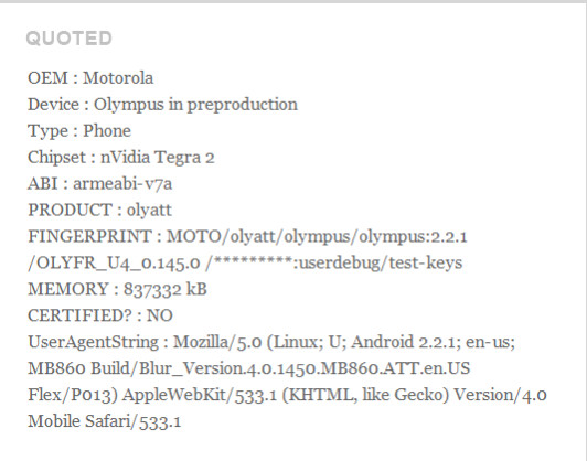 The Motorola Olympus could be heading to AT&T with Android 2.3 and a dual-core Tegra 2 processor - Motorola Olympus Android phone heads to AT&T with dual-core processor