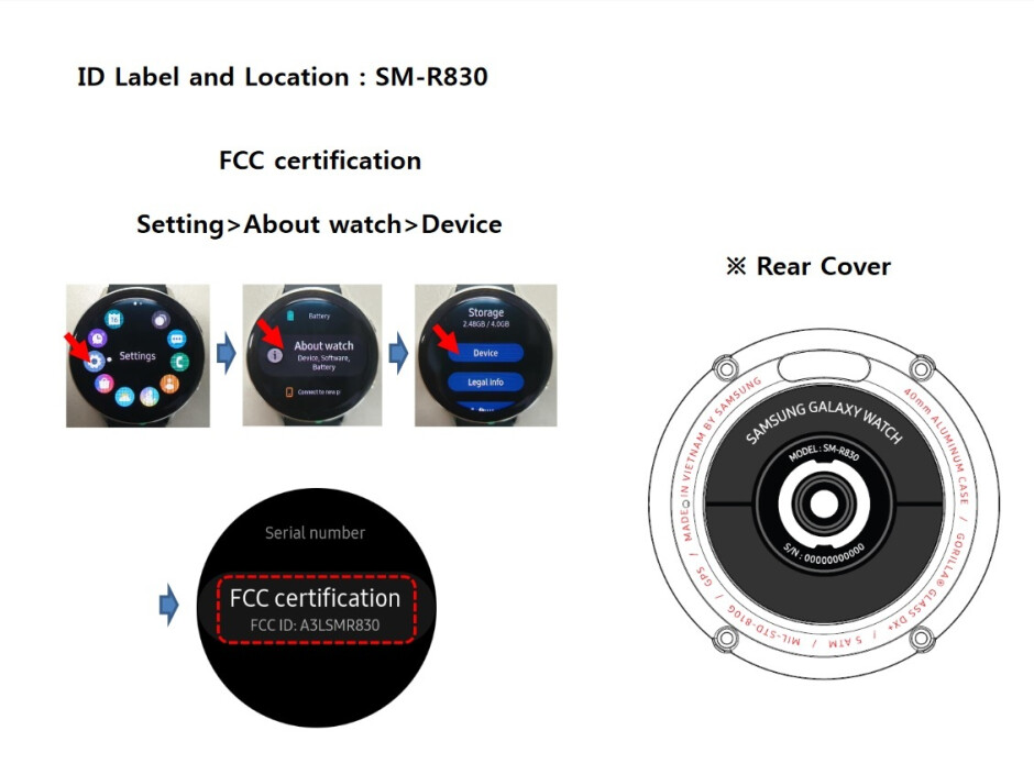 Image from FCC documentation related to the Samsung Galaxy Watch Active 2 - The feds help leak new info about Samsung's upcoming smartwatch