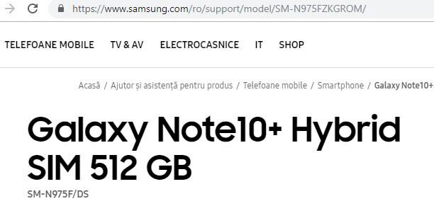 Galaxy Note 10+ 512 ГБ подтвержден!  - Galaxy Note 10+ был случайно подтвержден Samsung, были замечены варианты на 256 ГБ и 512 ГБ