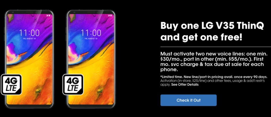 You can now get two LG V35 ThinQ units at the low price of $300 from Cricket Wireless