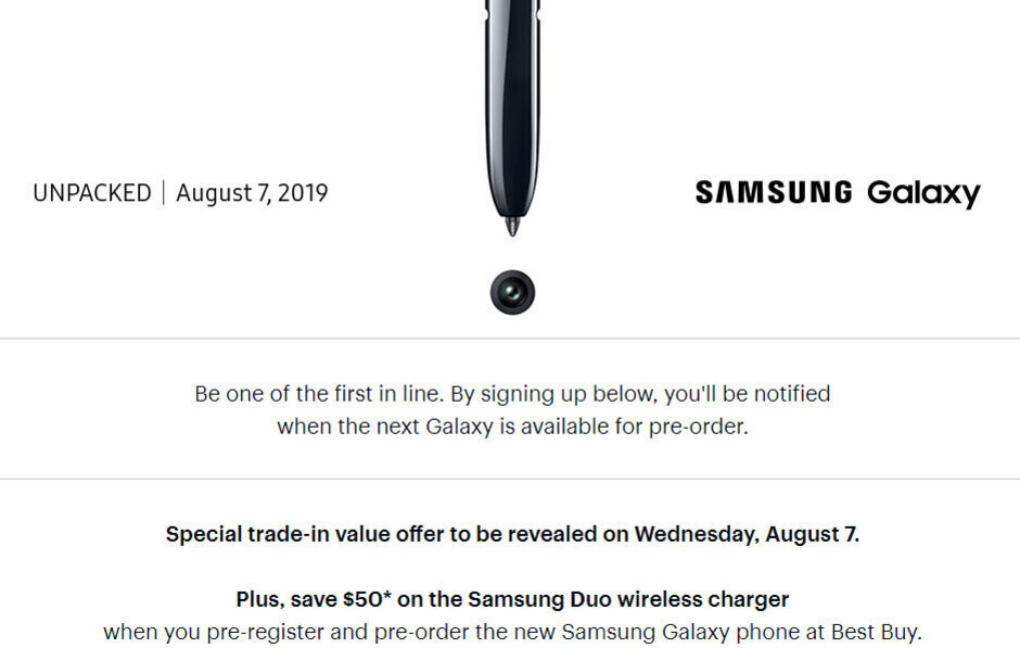 Best Buy lets you pre-register for the Samsung Galaxy Note 10 and get a wireless charging pad at half price