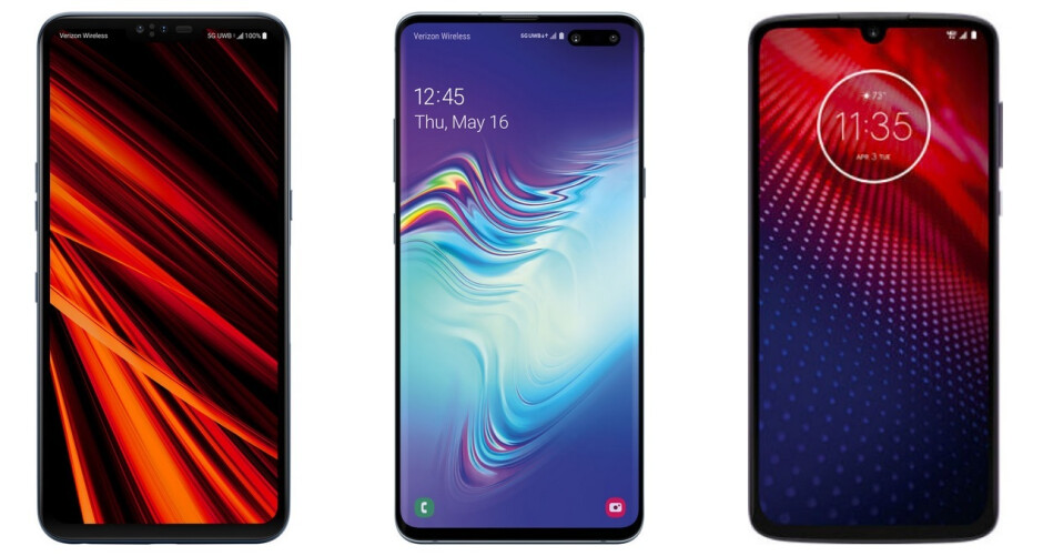 Verizon's current 5G phones; the LG V50 ThinQ 5G, the Samsung Galaxy S10 5G and the Moto Z4 with 5G Moto Mod attached - Verizon has 209,000 net additions to its consumer postpaid smartphone business in Q2