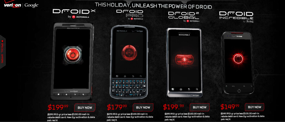 Add the Motorola DROID 2 to this lineup and you have Verizon's DROID roster for the holiday shopping season - Verizon introduces Motorola DROID 2 Global for $199.99 after rebate and signed pact