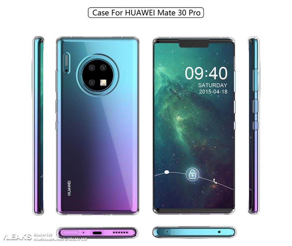Case render for the Huawei Mate 30 Pro - Huawei Mate 30 Pro case render shows off a circular camera module on back