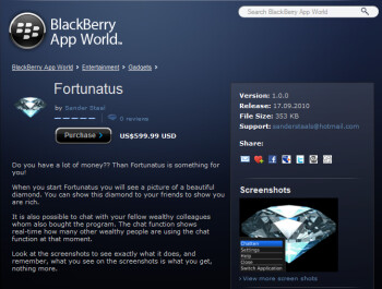 For just $599.99, the image of a lovely diamond can be seen on your BlackBerry