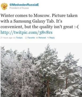 Russian President Dmitry Medvedev disses the Galaxy Tab's camera