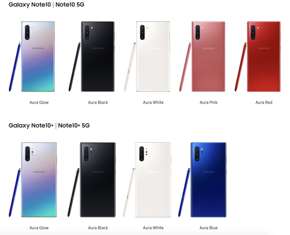 All Galaxy Note 10 and 10 Plus colors - Galaxy Note 10 and 10+ are official: price, release date, and all the new features