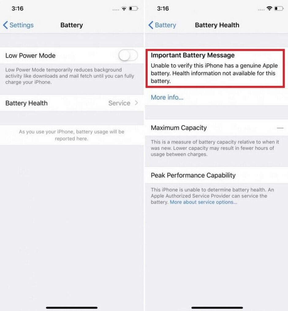Those who don't have their iPhone battery replaced by Apple will be blocked from seeing the Battery Health Indicator - Apple blocks iPhone feature if you go elsewhere to replace the battery