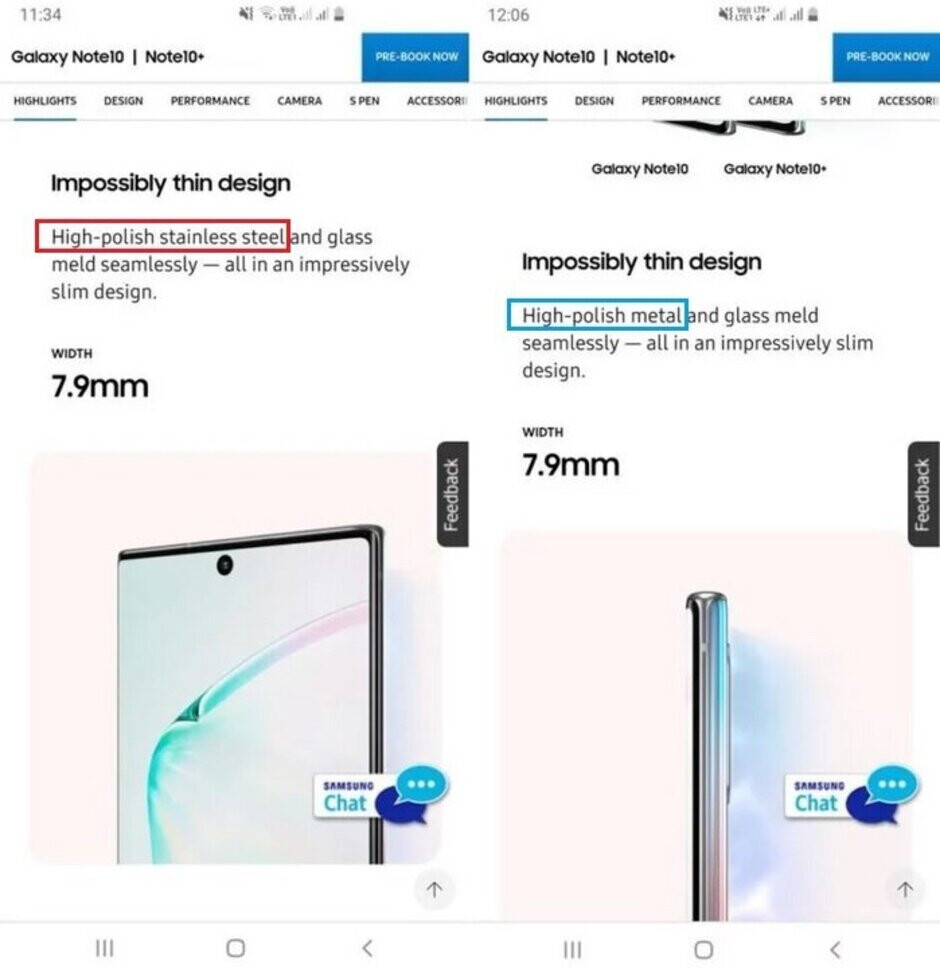 Samsung even made the same mistake on its website - Samsung made the same mistake twice when introducing the Galaxy Note 10 series
