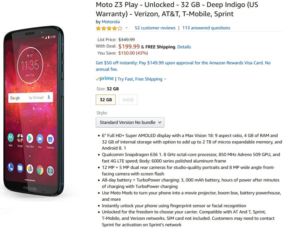 The Moto Z3 Play is on sale at Amazon - Amazon's deal takes the Moto Z3 Play down to $200 after a 43% price cut