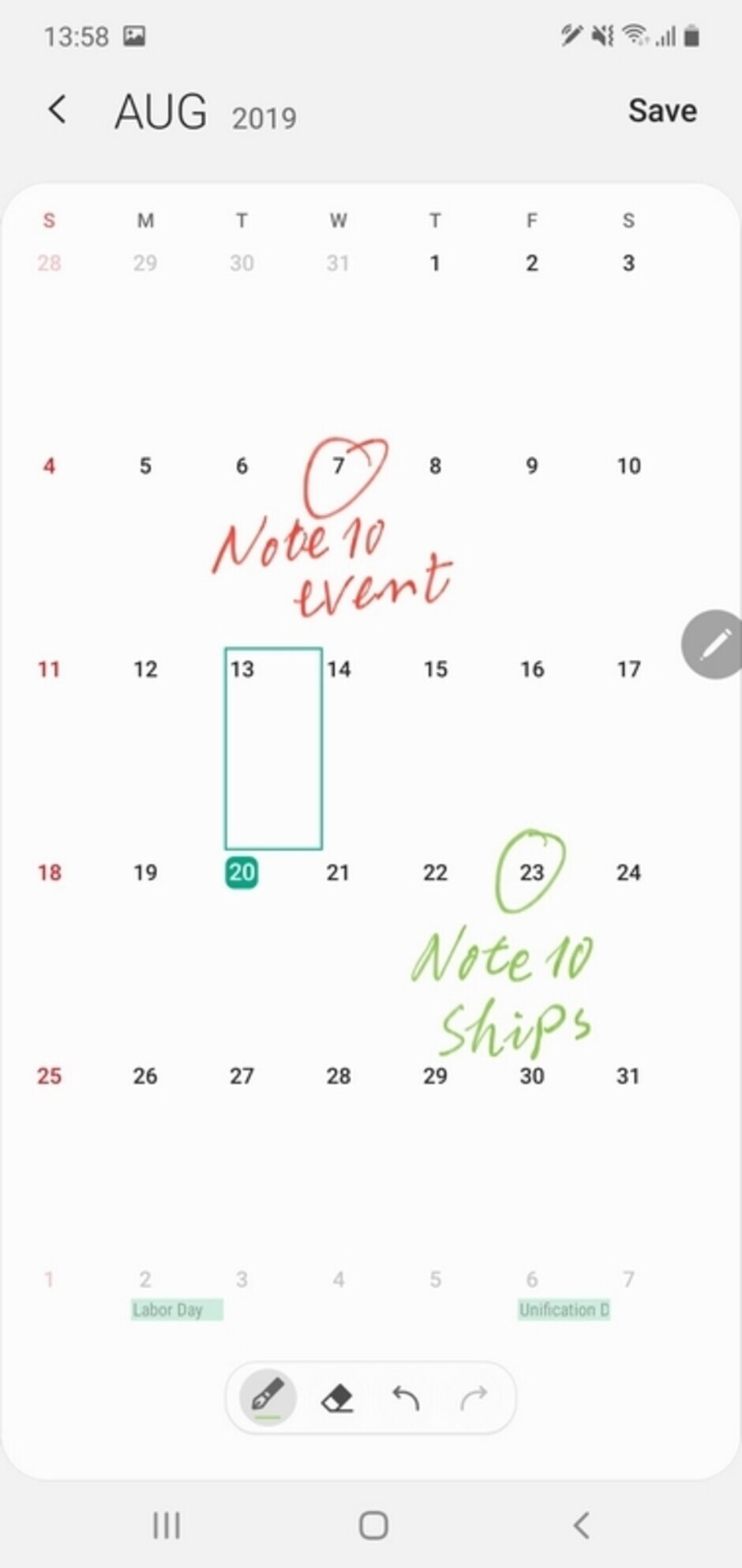 Scribble on your Calendar - Samsung Galaxy Note 20: how to S Pen — new and old features