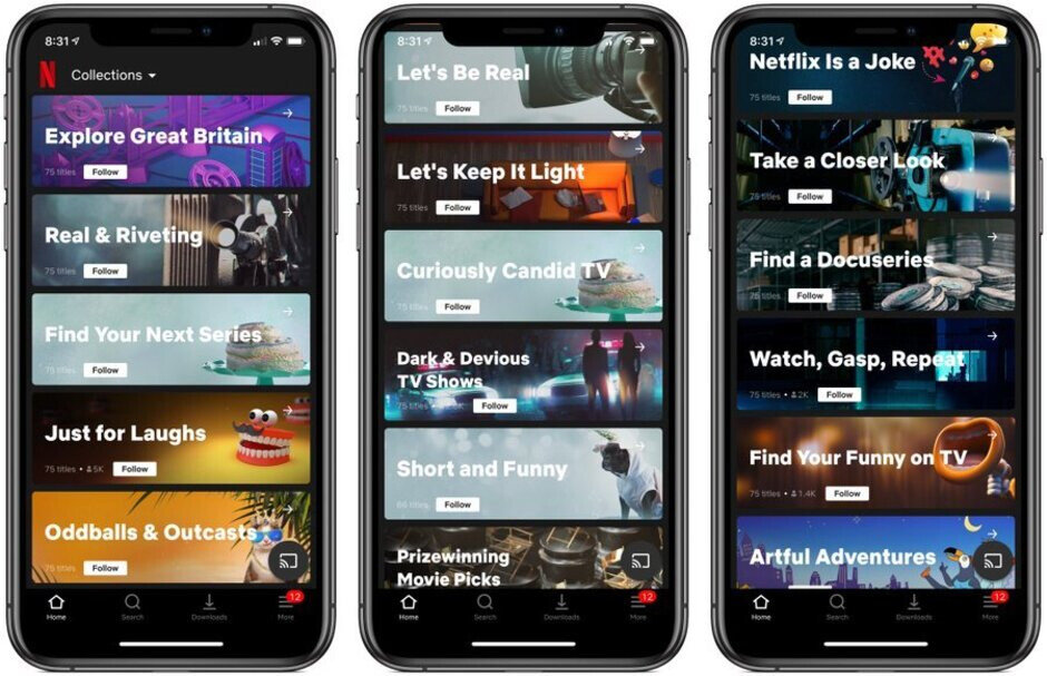 Netflix's Collections uses human experts to group movies into different categories - Netflix tests feature that helps members quickly find content they like
