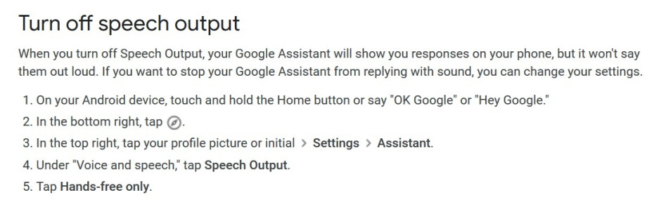 Google updates the support page for Google Assistant; note that these directions are missing one step. Use the directions as written in the story - Android users can now silence Google Assistant