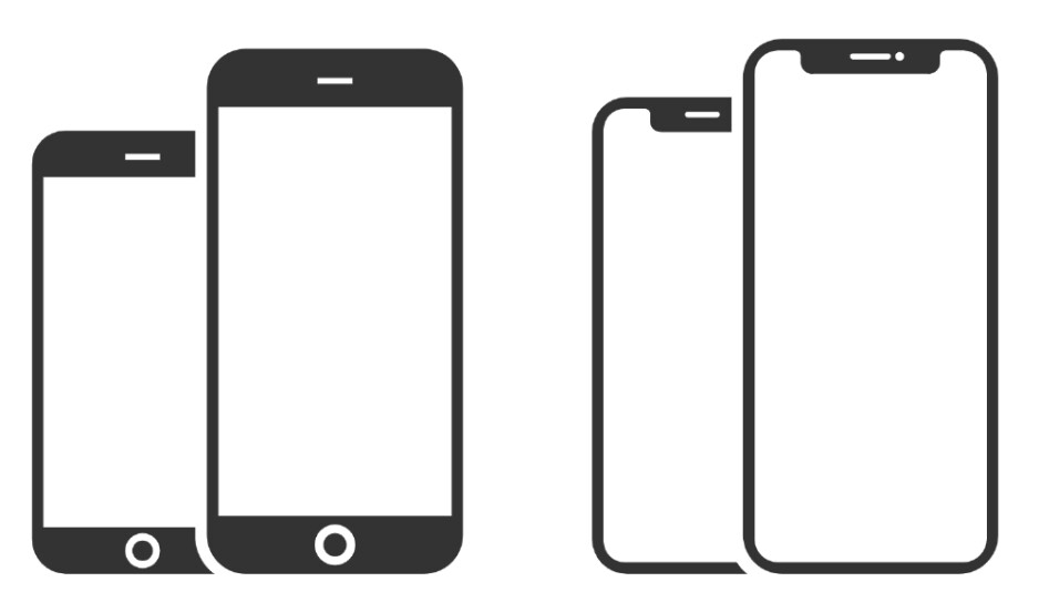 iPhone 8 series silhouette (left) and iPhone XS series silhouette (right - No, the iPhone 11 doesn't need a smaller notch or 5G connectivity