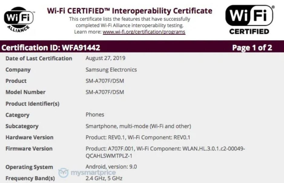 The Samsung Galaxy A70s has been certified by the Wi-Fi Alliance - Samsung's first phone equipped with a 64MP camera is a step closer to reality