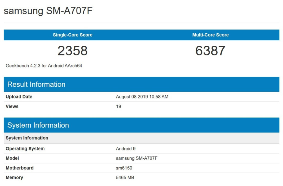 The Samsung Galaxy A70s is benchmarked on Geekbench - Samsung's first phone equipped with a 64MP camera is a step closer to reality