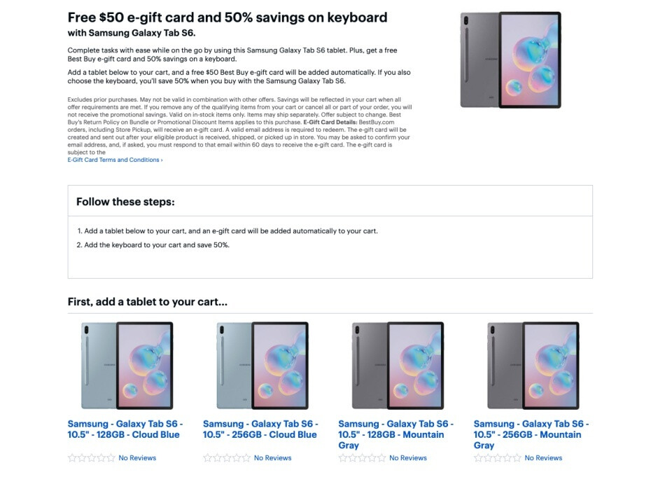 Galaxy Tab S6 pre-orders come with $50 e-gift card and discounted keyboard at Best Buy