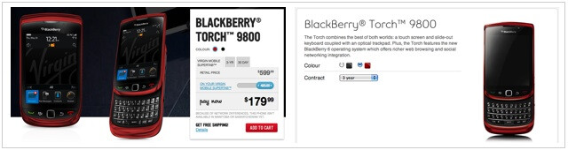 At both Bell (R) and Virgin Mobile (L), the BlackBerry Torch 9800 can be purchased in red - Bell and Virgin Mobile now offering BlackBerry Torch 9800 in red, north of the border