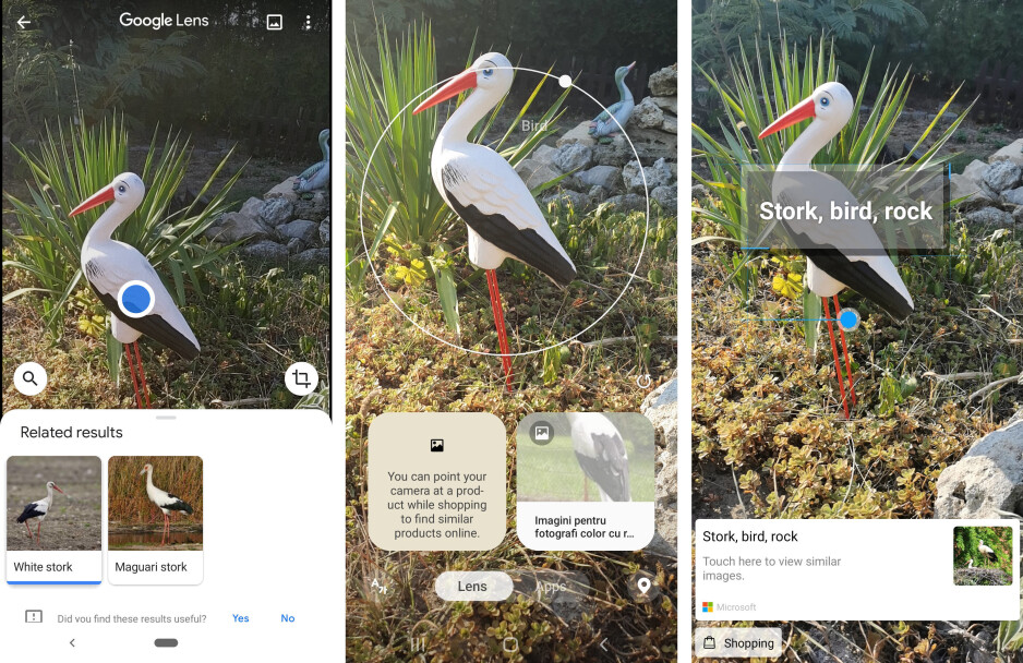 Google Lens left, Bixby Vision middle, HiVision right - Artificial intelligence showdown: Google Lens vs Bixby Vision vs Huawei HiVision