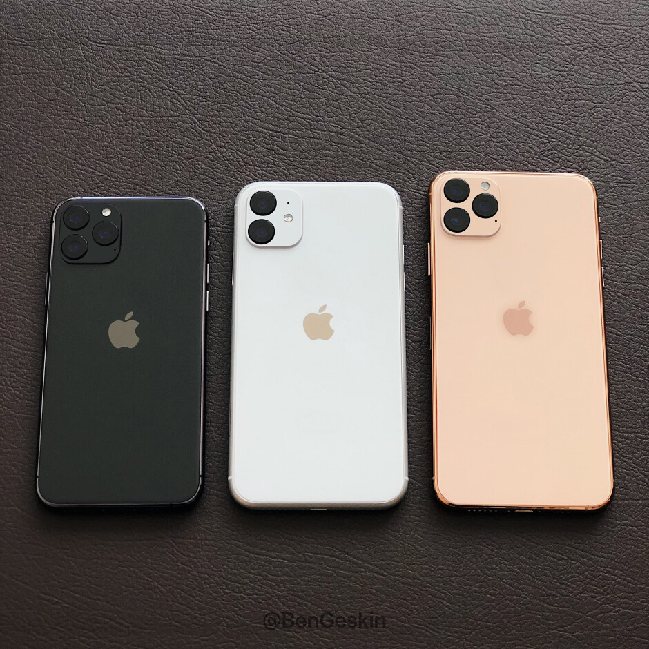 Mockups of the 2019 Apple iPhone line with centered Apple logo on the back - New camera module forces Apple to make a change to the new iPhones that everyone will notice