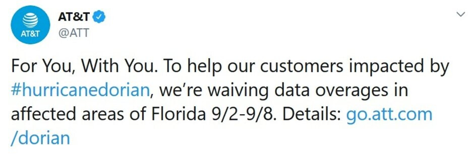 AT&T disseminates a tweet to its customers affected by the storm - Are you in the path of Hurricane Dorian? Here's what the major carriers are doing for you