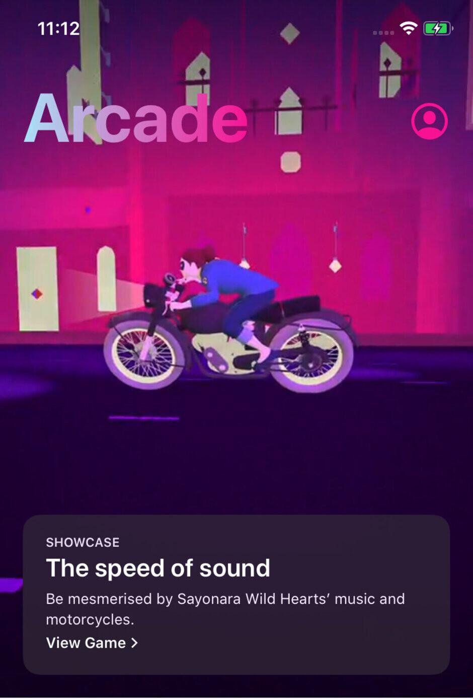 Apple Arcade's current Sayonara Wild Hearts splash screen - Apple Arcade launch games list review
