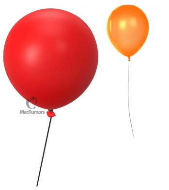 The 3D red balloon and 2D orange balloon could help you find items attached to an Apple Tag - It's alive! Apple Tags failure to appear last week doesn't mean the accessory is dead