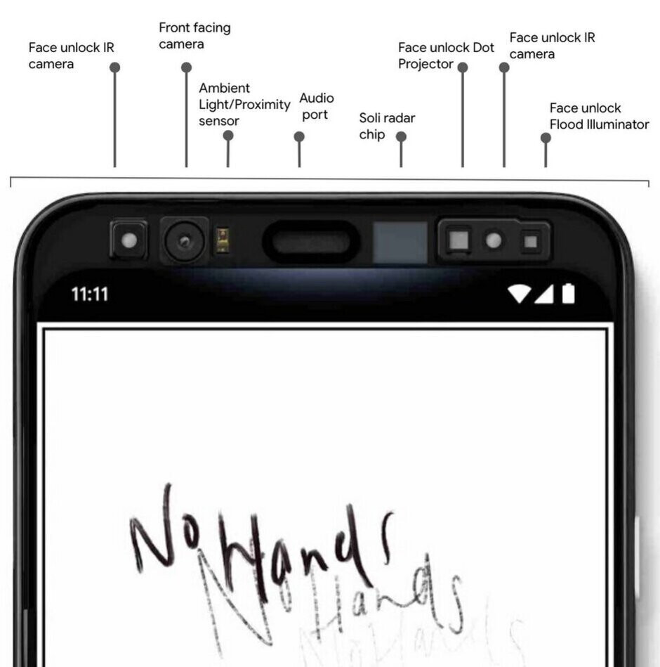 """Google itself published this image showing what's inside the Pixel 4 forehead - Rumored color options for the Pixel 4 series include """"Oh so Orange"""""""