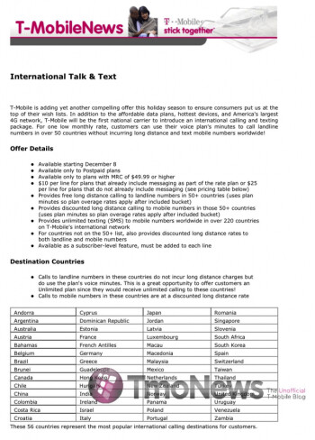 T-Mobile to introduce 'International Talk & Text' plan