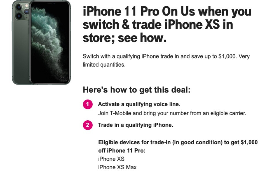 You Can Now Get Apple S Iphone 11 Pro For Free With An Eligible Trade In And New T Mobile Line Phonearena