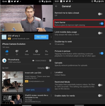The single Dark theme toggle seen on Android 10 prior to the server-side update - On Android 10, YouTube's Dark theme can be tied into the system-wide settings