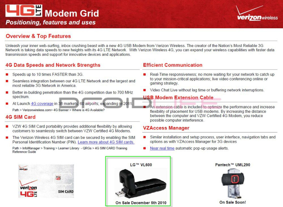 A look at Verizon's 4G modem lineup - Verizon launches LTE around December 5th