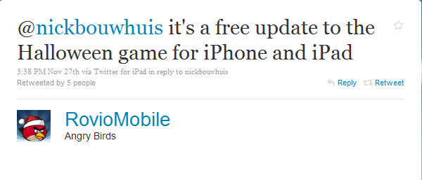 The tweet from Rovio that kept iOS users out of their wallets - Angry Birds Season's Edition is here