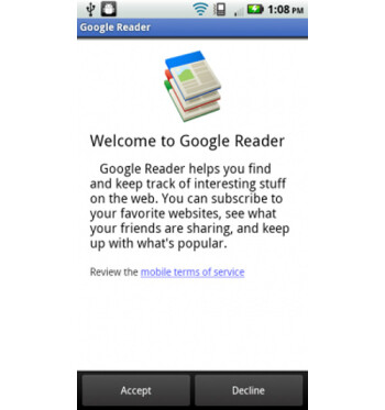Google Reader provides the Android user with all of the same functions as the desktop version