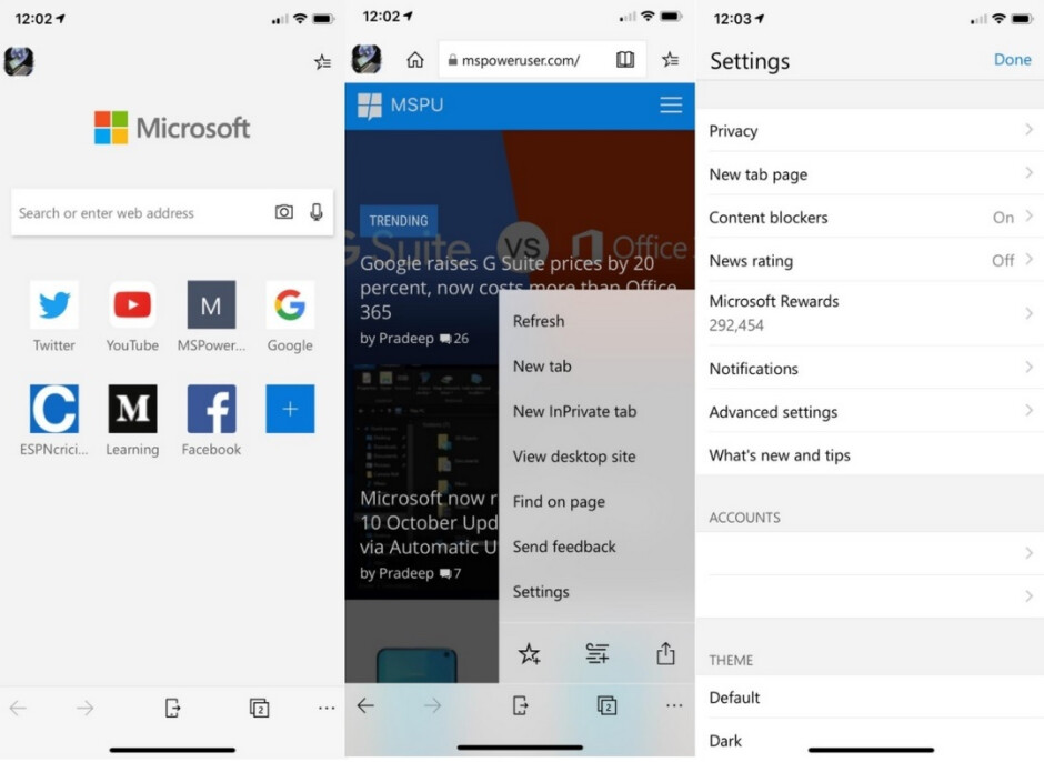 The Microsoft Edge browser app in Test Flight syncs its Dark mode with the setting in iOS 13 - Dark mode support, Tracking Prevention added to Microsoft Edge beta on iOS