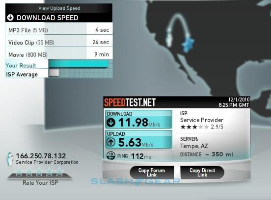 Verizon's LTE speed test in Arizona. Source - SlashGear - Verizon's LTE launch