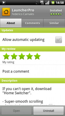 The new third tab on the revised Android Market listing reads