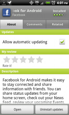 """The new third tab on the revised Android Market listing reads """"similar"""" on the Motorola DROID X (L), and """"related"""" on the HTC EVO 4G (R) - Android Market getting a stealth face lift"""