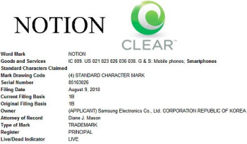 USTO Notion trademark application
