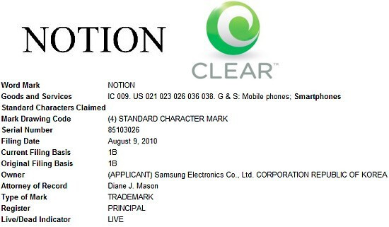 USTO Notion trademark application - Clearwire to launch the Samsung Notion smartphone, outs a WiMAX router