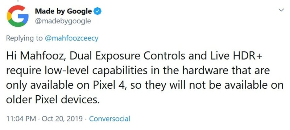 Google passes along the bad news; only Pixel 4 gets Live HDR+ and Dual Exposure Controls - Two key Pixel 4 camera features will not be coming to older Pixel models